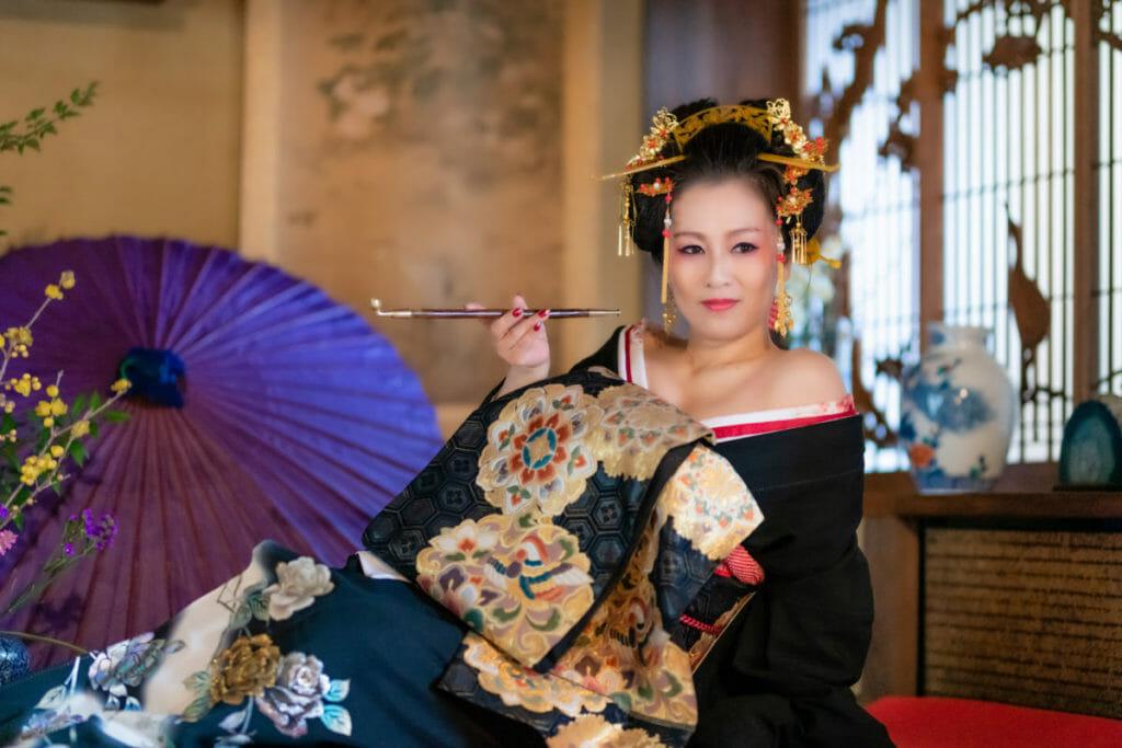 ホームページ素材 写真撮影  出張写真撮影 花魁衣装 木村鈴香 熊本のBAR鈴香